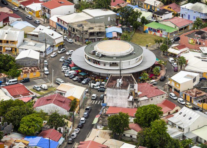 France, Caraïbes, Petites Antilles, Guadeloupe, Grande-Terre, Saint-François, Vue aérienne du marché couvert // France, Caribbean, Lesser Antilles, Guadeloupe, Grande-Terre, Saint-François, Aerial view of the covered market